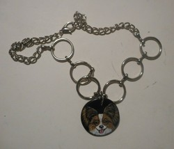 Papillon dog Jewelry Necklace Hand Painted Ceramic Pendant - $29.00