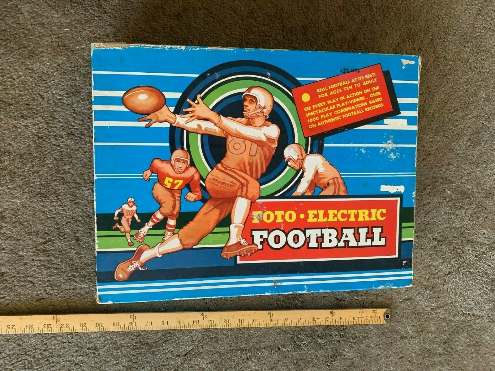 1956 Cadaco Foto-Electric Football Board Game In Box light works