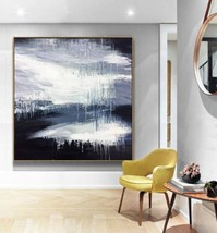 Black White Abstract Art Large Canvas Oil Painting Art No.B-003W - $115.69+