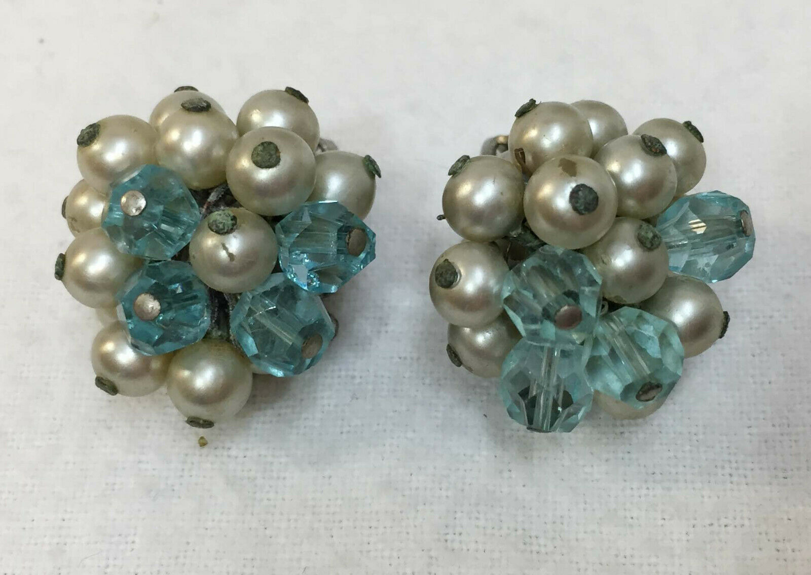 Primary image for Clip On Earrings Blue & Silver Beads Faux Pearls Silver Tone Metal Vintage Pair