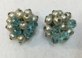 Clip On Earrings Blue & Silver Beads Faux Pearls Silver Tone Metal Vinta... - $8.90