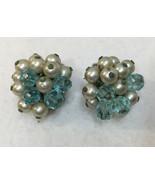 Clip On Earrings Blue & Silver Beads Faux Pearls Silver Tone Metal Vinta... - $8.90