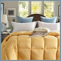 King Size Gold Jacquard Weave Silk Quilted White Duck Down Duvet Comforter