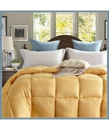 King Size Gold Jacquard Weave Silk Quilted White Duck Down Duvet Comforter - $289.95