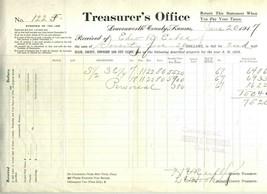 Leavenworth County Kansas Treasurer's Office Property Tax Statement 1917 - $24.72