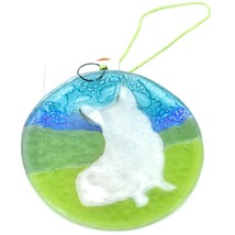 Handmade Fused Art Glass Sitting Smiling Corgi Puppy Ornament Sun Catcher Ecuado image 2