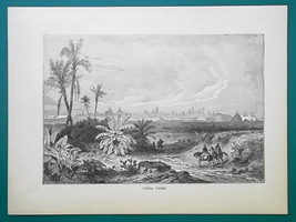 MEXICO Distant View of Veracruz - 1877 Wood Engraving Illustration - $8.09