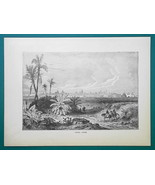 MEXICO Distant View of Veracruz - 1877 Wood Engraving Illustration - $8.09