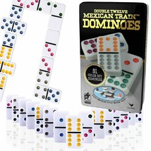 Professional Dominoes Game Set Double 12 Color Dot Domino Tiles Mexican ... - $14.84