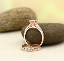 8x6 MM Oval Cut AAA Morganite Engagement Ring Set 14K Rose Gold Over .925 Silver - $119.99