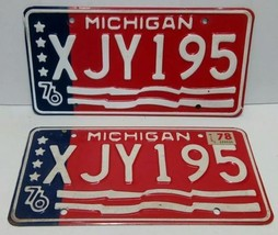 1976 MICHIGAN STATE LICENSE PAIR PLATES MATCHED SET XJY195 FLAG BICENTEN... - $25.29
