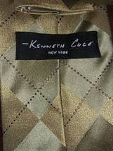 Kenneth Cole Gold Diamond Print Handsome Silk Necktie Tie Handmade image 2