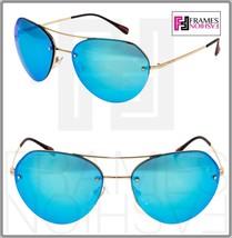 PRADA 57R Linea Rossa Spectrum Aviator Sunglasses Pale Gold Blue Mirrored PS57RS - $202.95