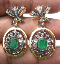 Victorian 1.52ct Rose Cut Diamond Emerald Christmas Wedding Women's Ear... - $402.57