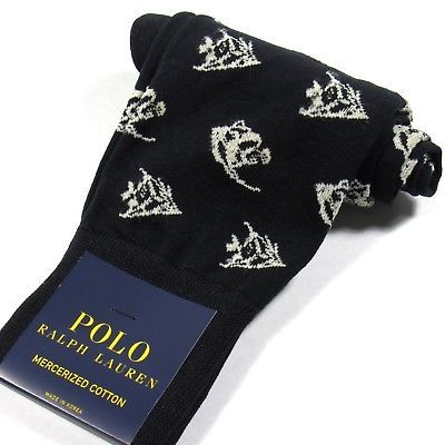 Primary image for Polo Ralph Lauren Mens Dress Socks Angel Fish Print Mercerized Cotton Black