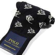 Polo Ralph Lauren Mens Dress Socks Angel Fish Print Mercerized Cotton Bl... - $16.00
