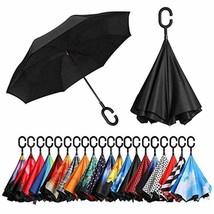 BAGAIL Double Layer Inverted Umbrellas Reverse Folding Umbrella Windproof UV Pro - $28.41
