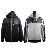 New Mens Basic Code PU Faux Leather Accent Zip Up Hoodie Sweatshirt  Gray - $29.99