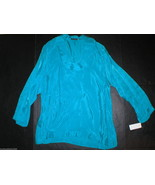 New Womens Josie Natori S Aqua Blue Teal  NWT $395 Cupro Tunic Top Layer... - $256.75