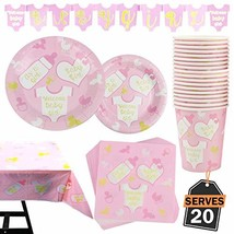 82 Piece Girl Baby Shower Party Set Including Banner, Plates, Cups, Napk... - $21.25
