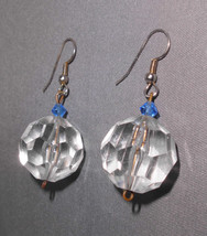 Vtg 50's Plastic Clear & Blue Rhinestone Beaded Dangle Disco Ball Earrings - $11.88
