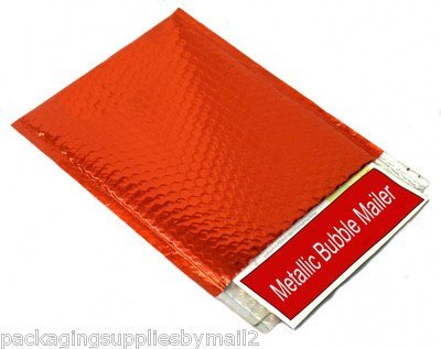 Metallic Glamour Bubble Mailers Padded Envelopes Shipping Mailing Bags Red - 7.5
