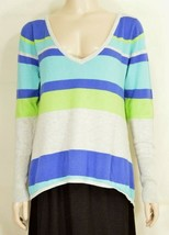 Unbranded top L knit long sleeve low cut front back soft gray blue strip... - $17.81