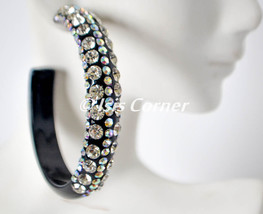 "2.5"" STATEMENT ACRYLIC BLACK HOOP WITH 5 ROWS CLEAR/AB RHINESTONES HOOP ... - $21.99"