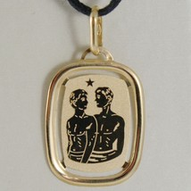 SOLID 18K YELLOW GOLD GEMINI ZODIAC SIGN MEDAL PENDANT, ZODIACAL, MADE IN ITALY image 1