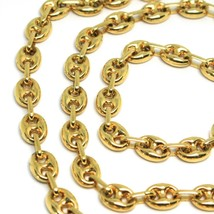 18K YELLOW GOLD SOLID MARINER CHAIN BIG 6 MM, 24 INCHES, ANCHOR ROUNDED NECKLACE image 2