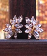 Vintage Trifari Ear-Climber Marquise Crystal Clip Earrings - $75.00