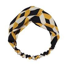 Black/Yellow Nylon Head Wrap Headband Vintage Elastic Hairband Contrast Color