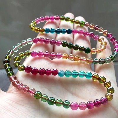 Natural Colorful Tourmaline Beads Crystal Elastic Bracelet Beautiful 5.2mm