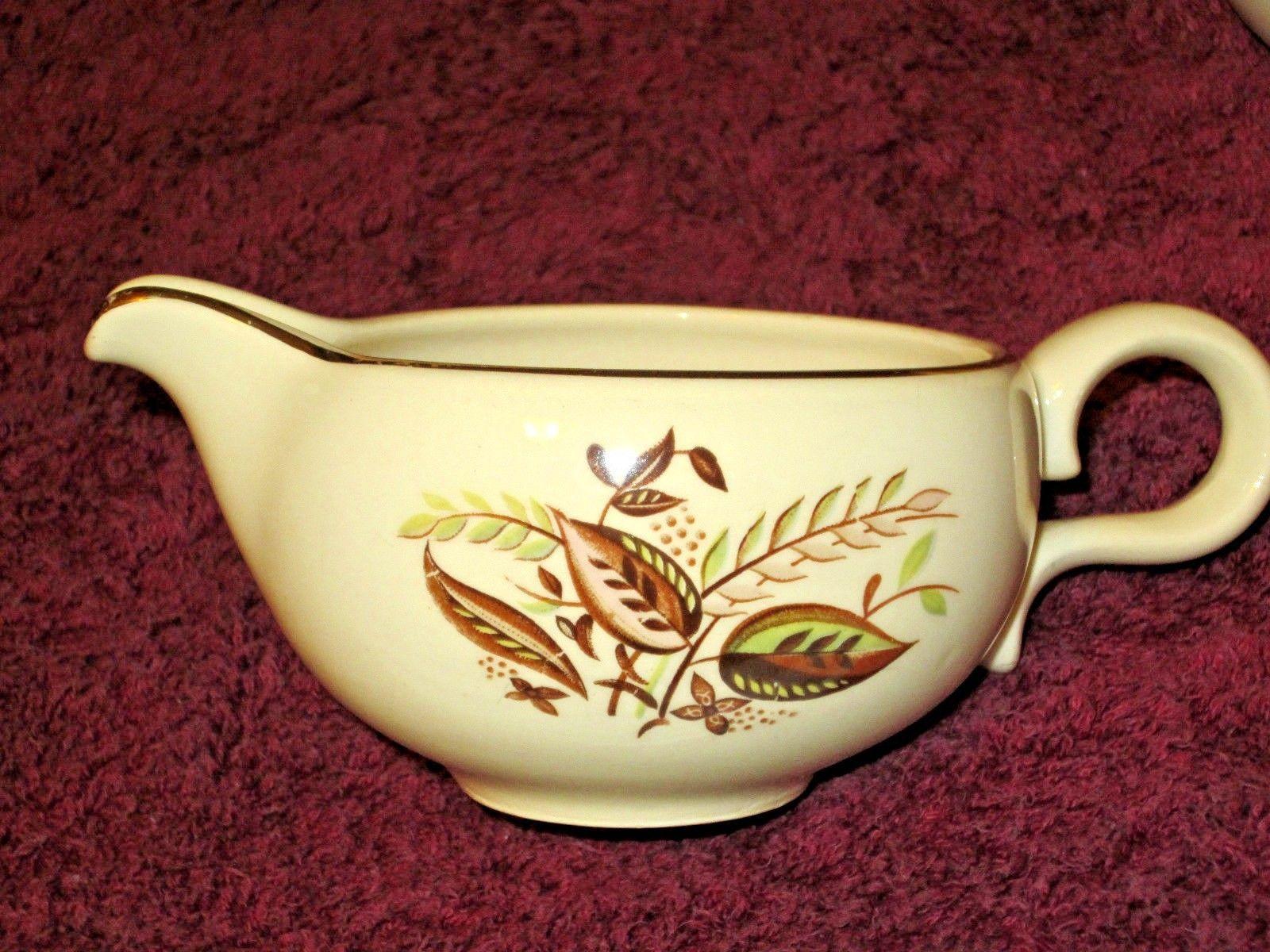 Creamer & Sugar Gravy Bowl Set 4 pc Autum Fall Leaf Pattern Vintage