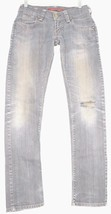 Levi 504 jeans slouch SZ 4 x 32 skinny destroyed dirty wash coated gray ... - $49.49