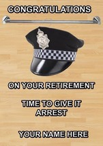 Male Police officer hang your hat Personalised Retirement Card A5 codep1 - €3,42 EUR