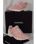 """NIB CHANEL LACEUP SHOES TRAINERS SNEAKERS PINK, SALMON SZ 37 ''CC"""" GOLD ... - $613.80"""