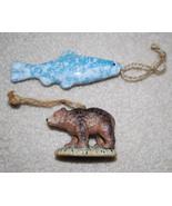 """Christmas Ornaments LOT Fish 4.25"""" & Bear 2""""x3"""" Cabin Holiday Mancave Hu... - $14.80"""