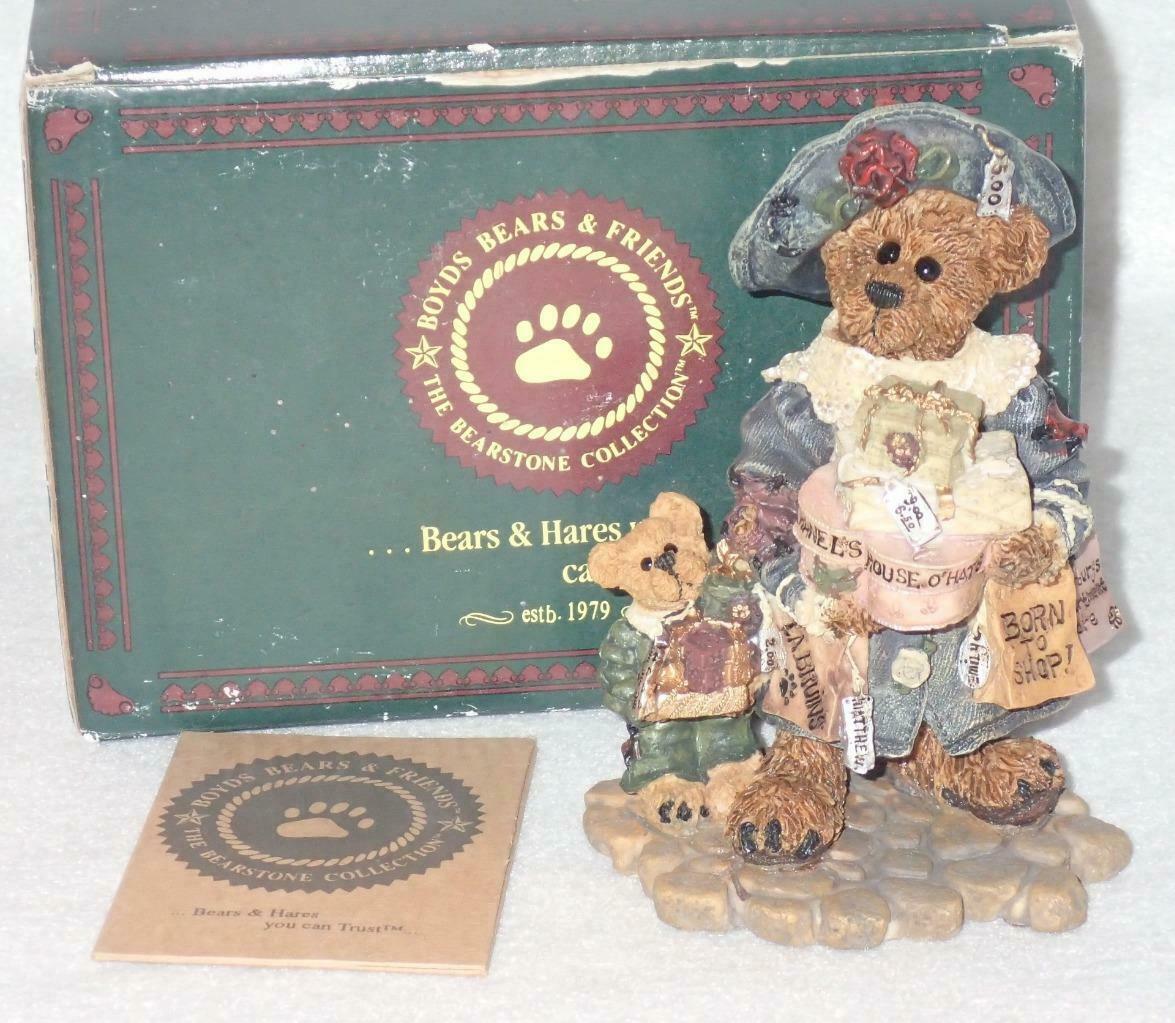 Boyd Bearstone Resin Bears 1997 Grace and Jonathan Born To Shop Figurine 25E image 3