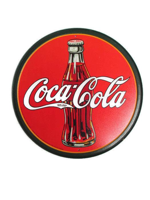Coca-Cola Metal Tin Contour Bottle Disc Sign with Coca-Cola Logo- BRAND NEW