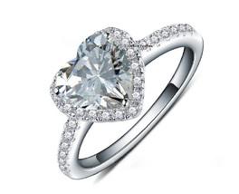 Heart Shape Sim Diamond 14k White Gold Plated 925 Sterling Silver Wedding Ring - $74.99