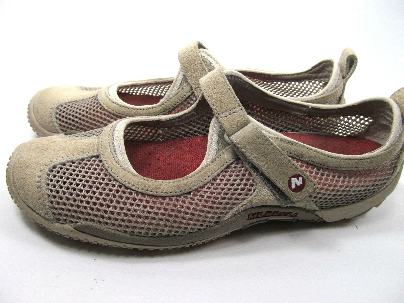 Merrell Taupe Womens Mesh Shoes Size 7.5 M Grey Suede Mary Jane Shoes image 4