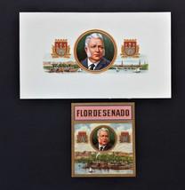 "Lot Antique 2pc Flor De Senado Cigar Box Label Embossed 5.5""x9.25"" - $42.50"
