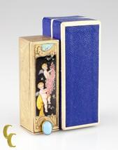 Vintage Italian 800 Silver Lipstick Tube Enamel & Turquoise W/ Box - $297.00