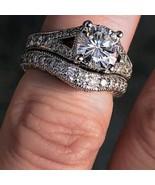 2.30 Ct Round Cut Diamond Solitaire Halo Bridal Ring Set 14k White Gold ... - $89.87