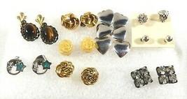Mixed Lot of 9 fancy fashion Solitaire CZ Stone ZZ sterling Heart stud Earrings - $37.62