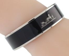 Hermès Esmalte Negro Caleche Brazalete 19mm Ancho Gorgeous! image 1