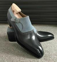 Handmade Men's Black Leather Grey Suede Monk Strap Dress/Formal Shoes image 4