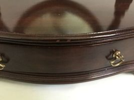 Vtg Ethan Allen Dark Wood Oval Mirror Jewelry Box Shaving Vanity Tabletop Drawer image 3