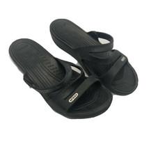 Crocs Patricia Low Wedge Strappy Sandals Women's Size 8W Black Slip On S... - $22.91